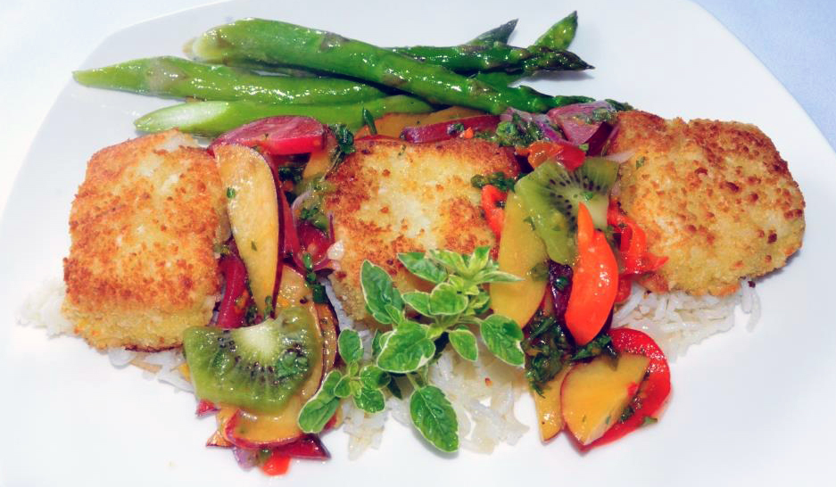 Sea Bass …macadamia crusted with fresh fruit salsa over basmati